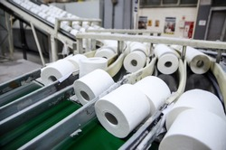 Production of Toilet paper in factory. Toilet paper rolls making machine. Tissue and Kitchen Towels Machine. Long conveyor with toilet paper moving on.