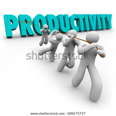 Productivity Word Pulled Team Improving Output Results Together
