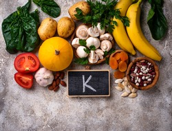 Products containing potassium. Healthy food concept. Space for text, top view