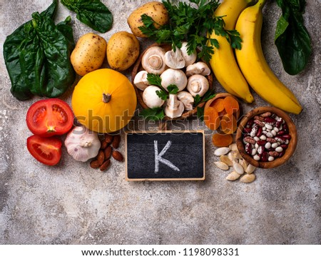Products containing potassium. Healthy food concept. Space for text, top view Stock fotó ©