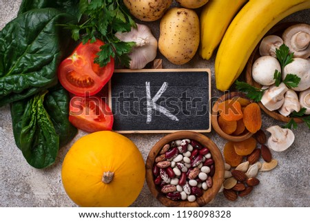 Products containing potassium. Healthy food concept.  Top view Stock fotó ©