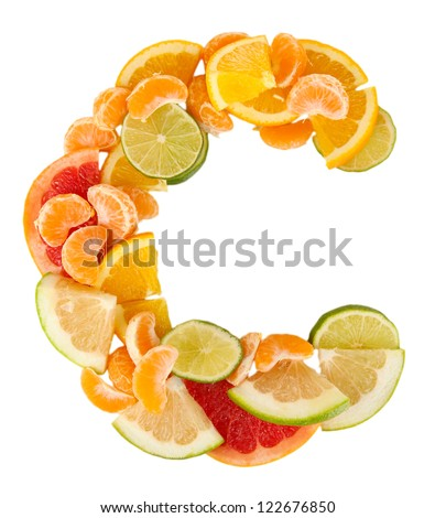 Products containing vitamin C isolated on white