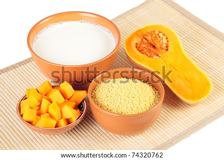 Products For Cooking Millet Porridge With Pumpkin Stock Photo 74320762 ...