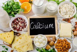 Products rich in calcium. Healthy food. Flat lay