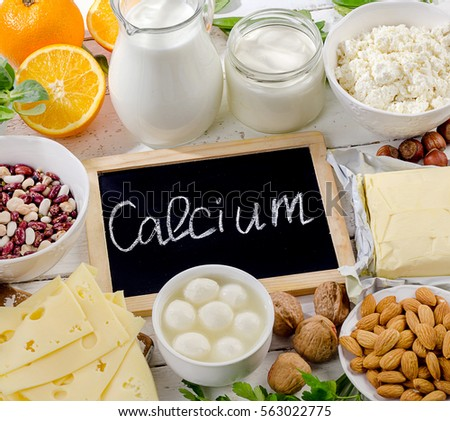 Products rich in calcium. Healthy food. View  from above #563022775