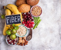 Products rich in fiber. Healthy diet food. Top view