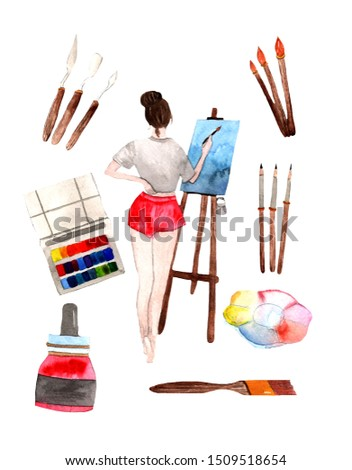 Profession Artist.Watercolor hand drawn illustration of girl,artist palette,paint brushes,picture stand,set of colorful paints,pencils,palette knife.
