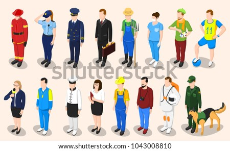 Profession isometric set of sixteen isolated people faceless characters representing different professions in appropriate uniform with shadows  illustration