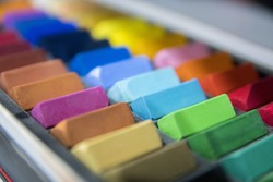 professional art crayons for artists in depth of field. Defocus areas can be used as a copy space.