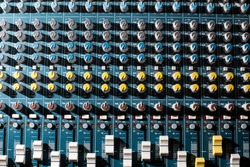 Professional Audio dj mixer console, sound tools and gear, studio equipment picture, selective focus picture of faders