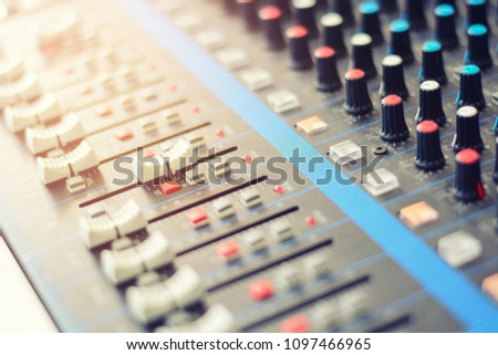 Blurred audio console in radio studio Images and Stock