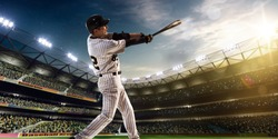 Professional baseball player in action on grand arena