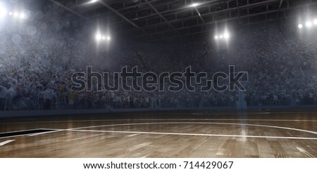 Professional basketball arena in 3D. Arena are full of fans.