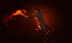 Professional basketball player is shoting the fireball
