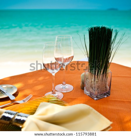 Professional beach restaurant serving