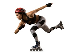 Professional beautiful woman roller skating. isolated on white background