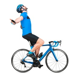 professional bicycle road racing cyclist racer in blue sports jersey on light carbon race cycle celebration celebrating win. sport exercise training cycling winner concept isolated on white background