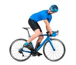 professional bicycle road racing cyclist racer  in blue sports jersey on light carbon race looking back behind.  sport training cycling concept isolated on white background