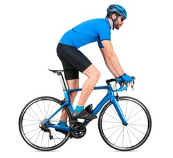 professional bicycle road racing cyclist racer  in blue sports jersey on light carbon race out of the saddle ascent uphill climbing position sport training cycling concept isolated on white background