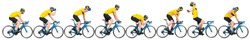 professional bicycle road racing cyclist racer set collection in yellow jersey on light weight blue carbon race cycle in various poses position and gestures isolated on wide white panorama background