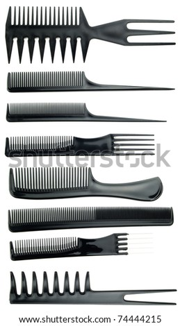 professional black comb set on white background
