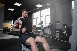 Professional bodybuilder exercising at the gym, doing cable row machine workout