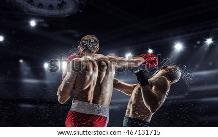 Stock Photo Professional box match . Mixed media