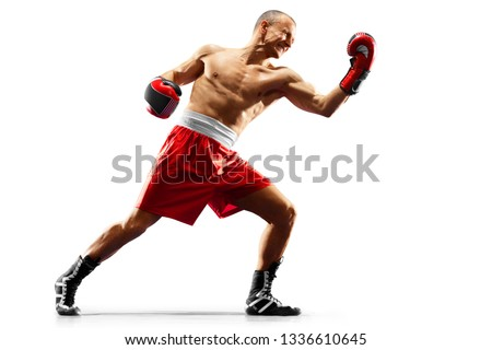 Photo of  professional boxer isolated in black background dark