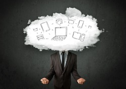 Professional business man with cloud network head concept