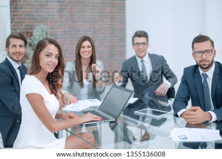 professional business team sitting at the office Desk #1355136008