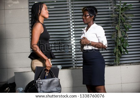Professional businesswoman discuss business or discuss work outside the office. #1338760076