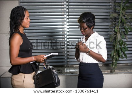 Professional businesswoman discuss business or discuss work outside the office. #1338761411