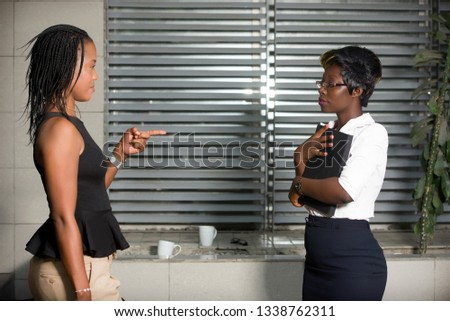 Professional businesswoman discuss business or discuss work outside the office. #1338762311