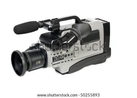 Professional camcorder isolated on white background
