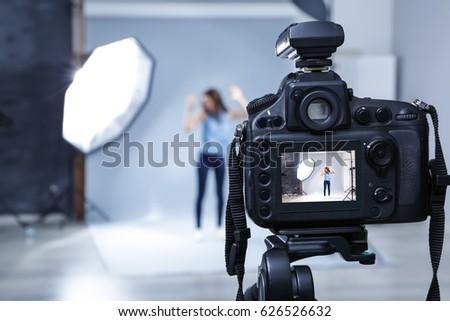 Professional camera in studio, closeup