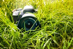 Professional camera lies in  grass. Pause during photo shoot in nature