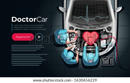 Professional car engine repair in the form of a heart by car mechanics in doctors clothes. Landing page template. Foto d'archivio ©