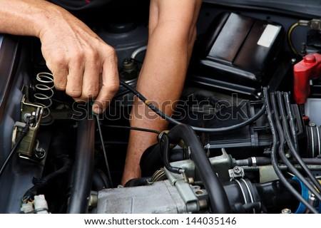 Professional car mechanic, auto repair concept. - stock photo