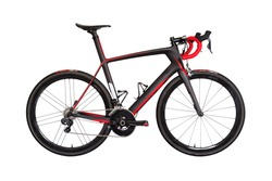 Professional carbon race road bike isolated on white background