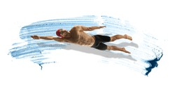 Professional caucasian swimmer moving in paint brushstroke, watercolor. Grace of motion and action. Artwork. Horizontal flyer with blue ocean splashes like water waves on white background with