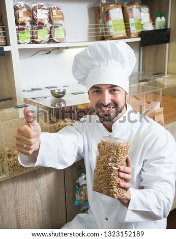 professional chef buys the best groceries in grocery store