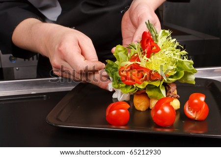 professional chef garnish tasty dish