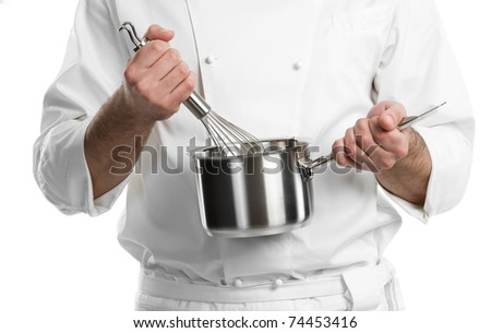 professional chef hands with kitchen utensils whisk and pan isolated