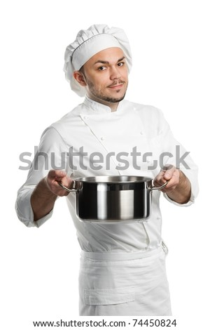 professional chef in white uniform and hat with metal kitchen pan isolated