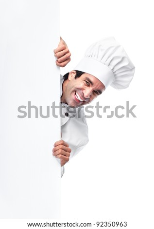 Professional chef man. Isolated over white background