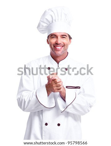 Professional chef man. Isolated over white background.