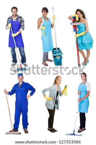 Professional cleaners with equipment. Isolated on white background