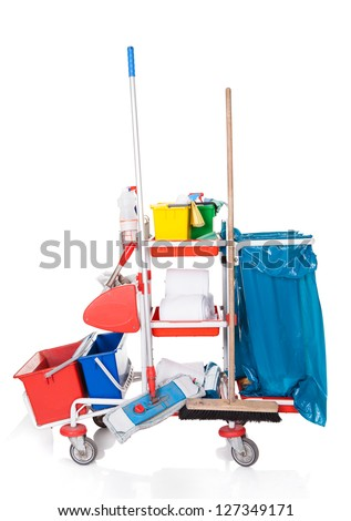 Professional Cleaning Equipment. Isolated On White Background