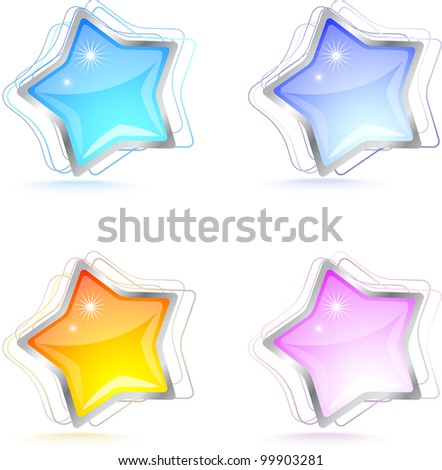 Professional colorful glossy star icon set.