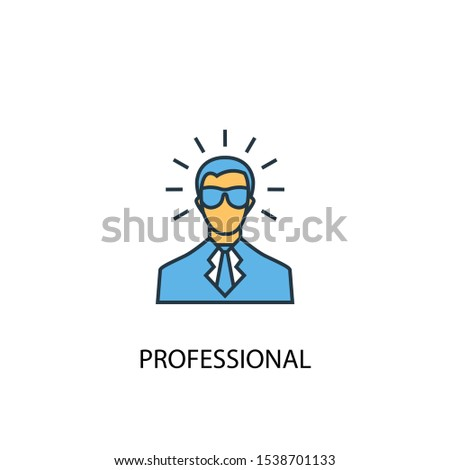 professional concept 2 colored line icon. Simple yellow and blue element illustration. professional concept outline symbol design